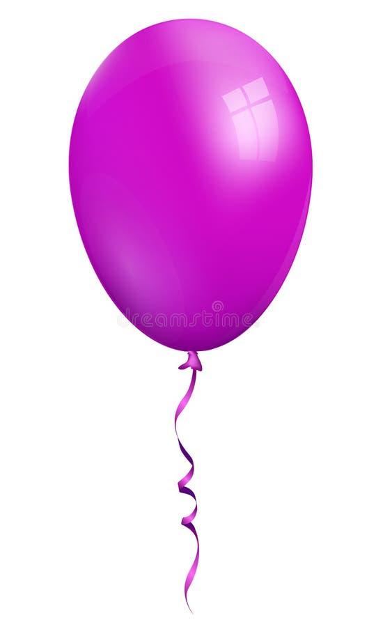 Único ballon 3d violeta realístico isolado no fundo branco ilustração do vetor