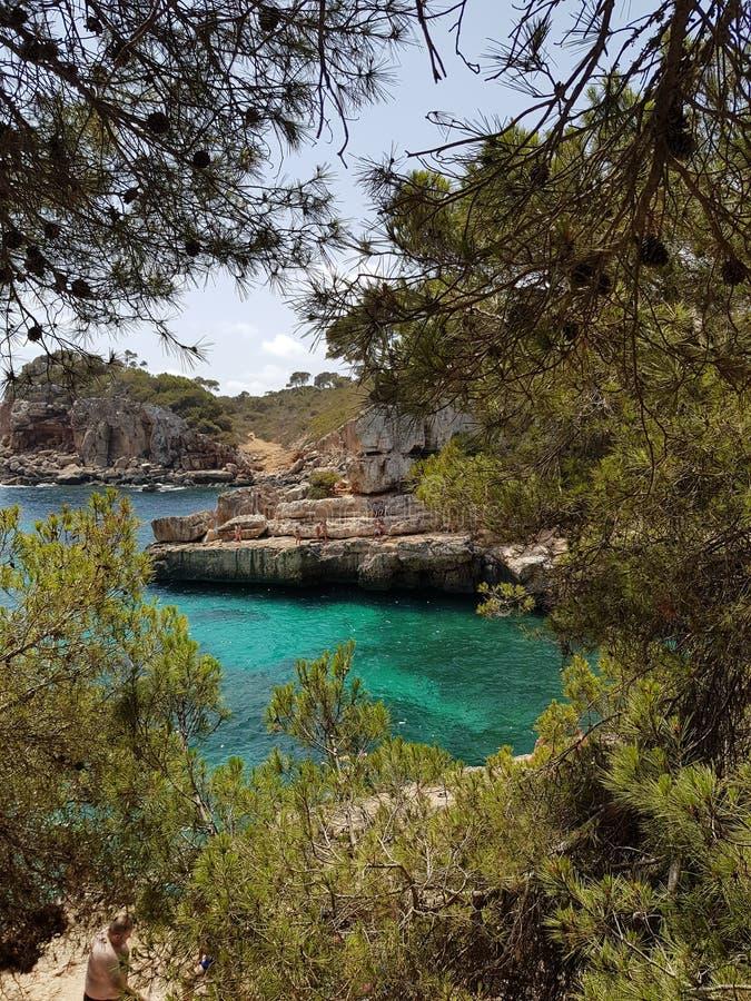 Único dreamy Cala S'Almonia, Mallorca, España imágenes de archivo libres de regalías