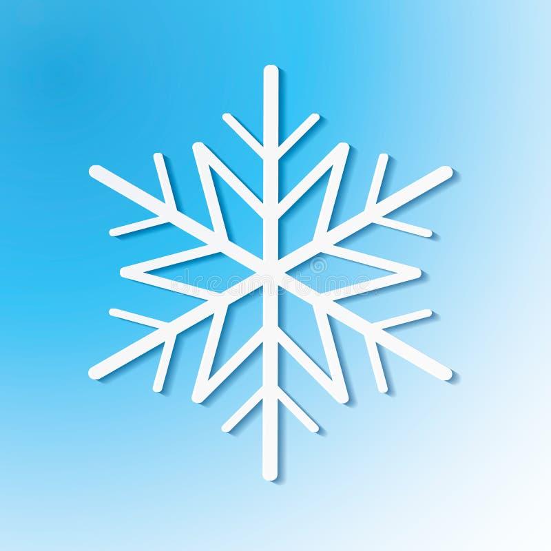 Único floco de neve branco no fundo azul Ilustração do vetor eps10 para o projeto do feriado de inverno ilustração do vetor