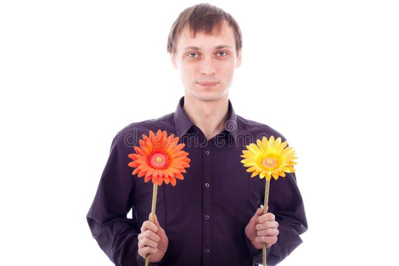 Único homem com flores imagem de stock