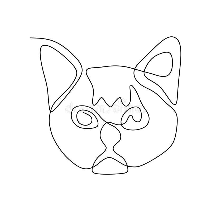 Único a lápis desenho contínuo da cabeça bonito do gato do gatinho ilustração do vetor