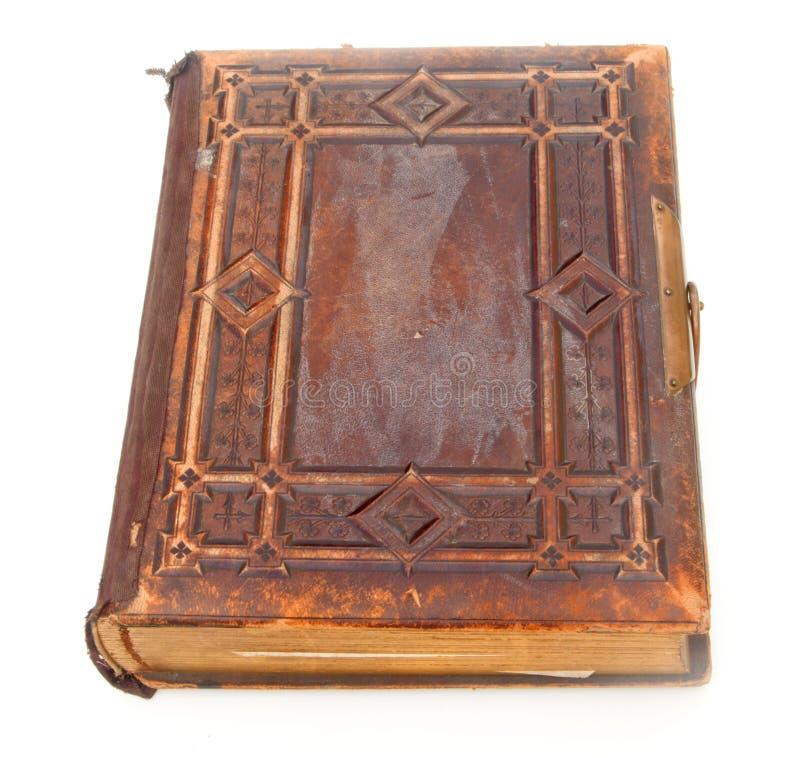 Único livro encadernado de couro velho fotos de stock royalty free