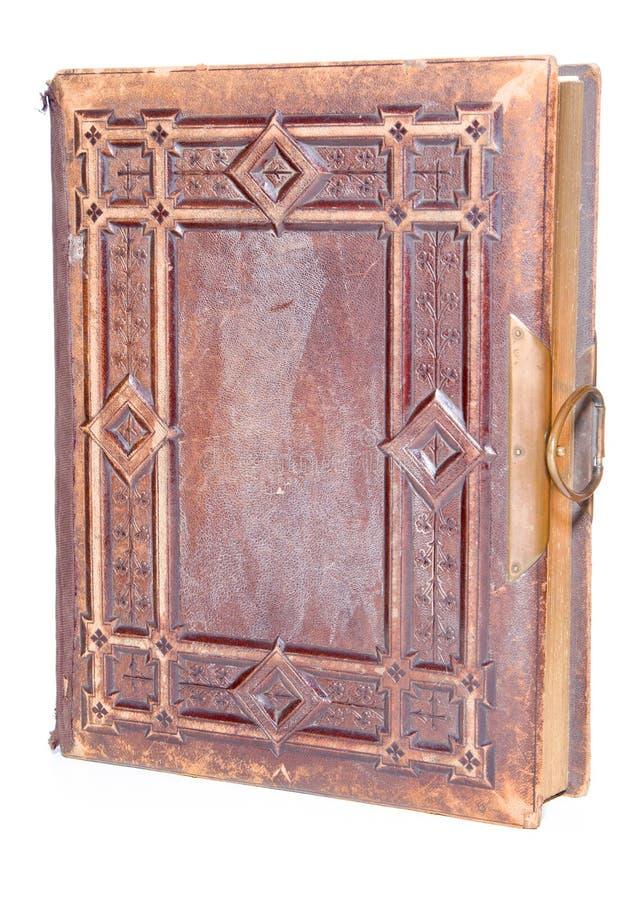 Único livro encadernado de couro velho imagens de stock royalty free