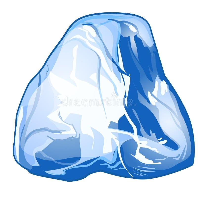Único pedaço do gelo isolado em um fundo branco Ilustração do vetor ilustração do vetor