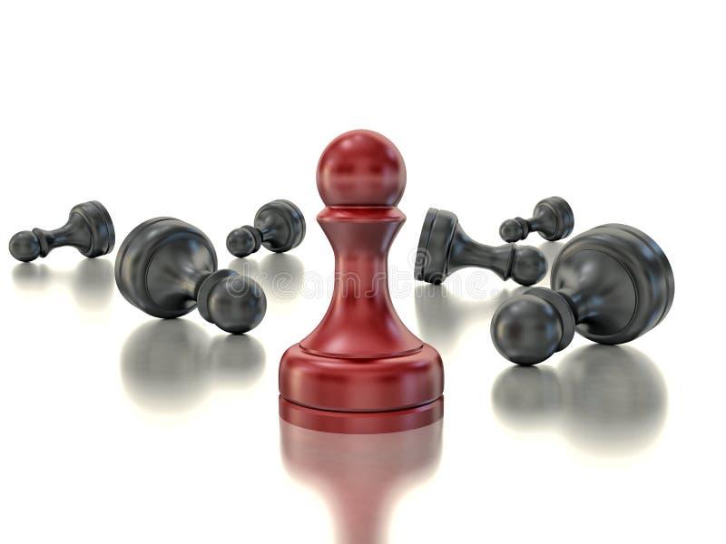 Único penhor vermelho Conceito ereto da estratégia empresarial do último um ilustração do vetor
