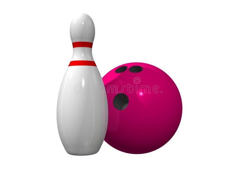Único pino de bowling com esfera de bowling ilustração stock