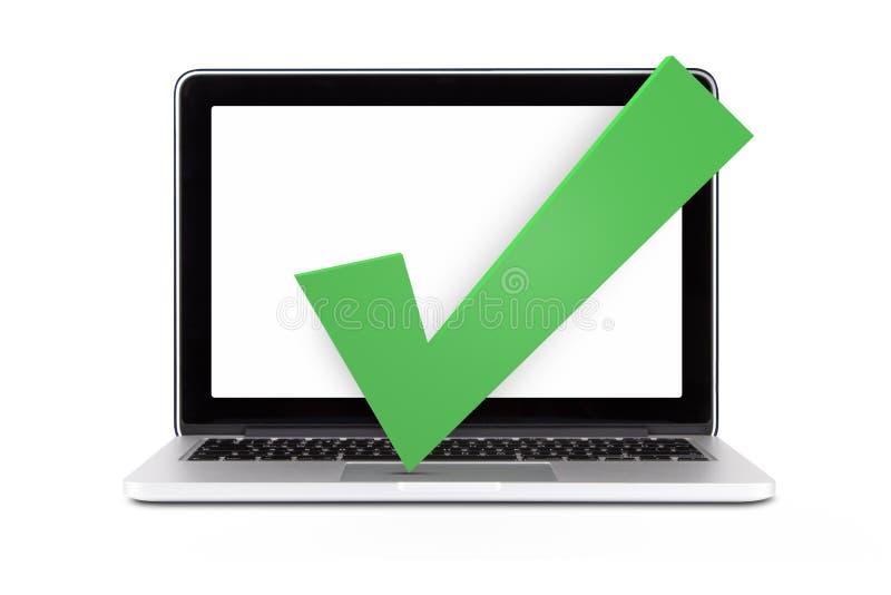 Único portátil com Tick Sign imagem de stock royalty free