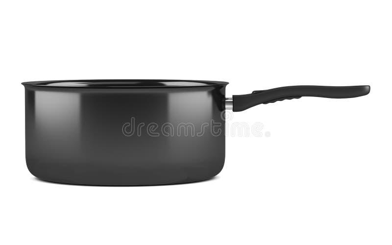 Único potenciômetro de cozimento preto isolado no branco imagem de stock