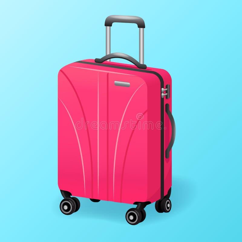 Único saco cor-de-rosa do curso da bagagem isolado - ícone da mala de viagem do curso da bagagem ilustração royalty free