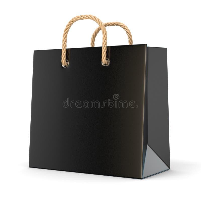 Único, saco de compras vazio, preto, vazio 3d ilustração do vetor