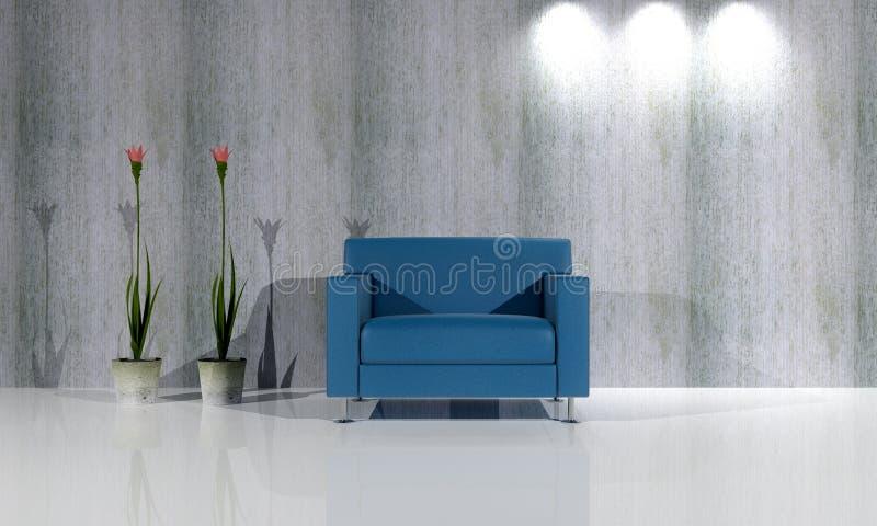 Único sofá azul de Seater com rendição das plantas 3D ilustração stock