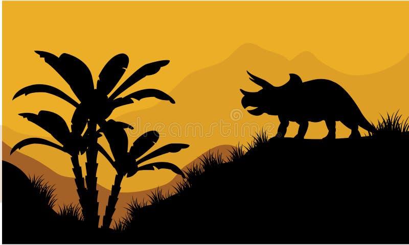 Único triceratops no cenário dos campos ilustração do vetor