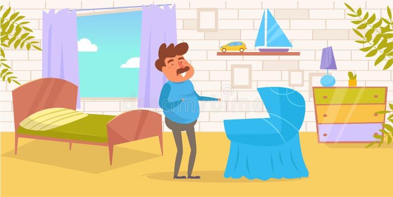 Único vetor do pai cartoon Homem liso isolado da arte ilustração royalty free
