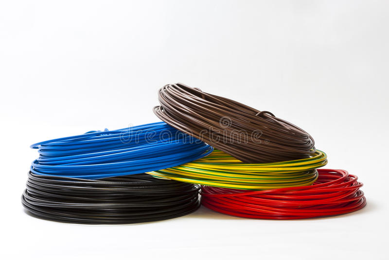 Únicos cabos em cores diferentes imagens de stock