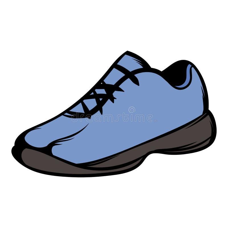 Únicos desenhos animados azuis do ícone dos tênis de corrida ilustração do vetor