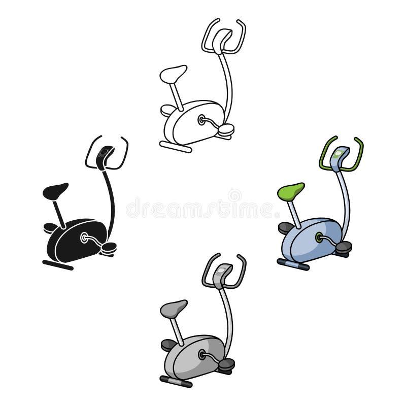 Üben Sie die Fahrradikone in der Karikaturart lokalisiert auf weißem Hintergrund aus Sport- und Eignungssymbolvorrat-Vektorillust vektor abbildung