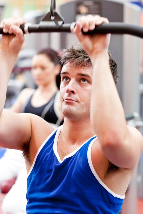 Übendes Bodybuilding des männlichen Athleten stockbild