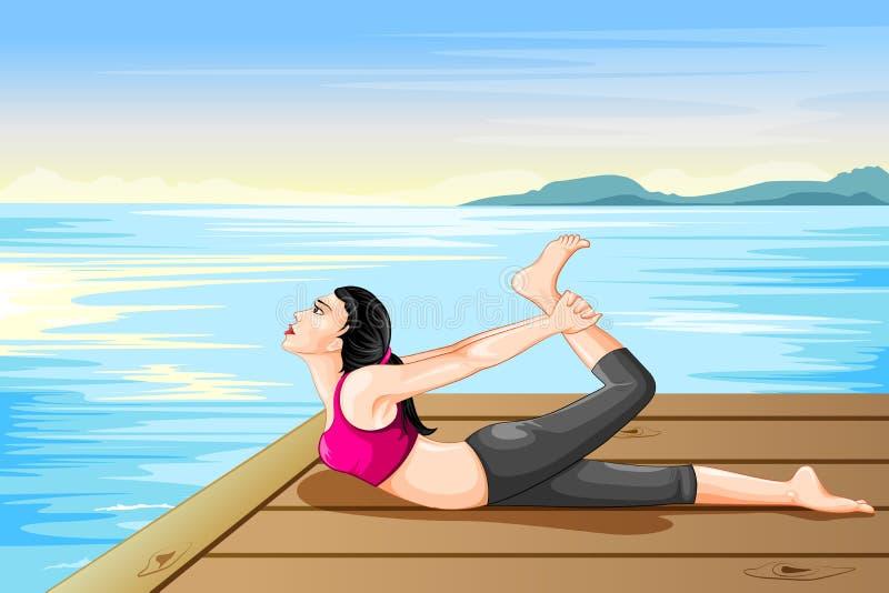 Übendes Yoga Dame für Wellness vektor abbildung