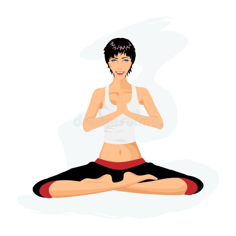 Übendes Yoga der schönen Frau in der Lotoslage lizenzfreie abbildung
