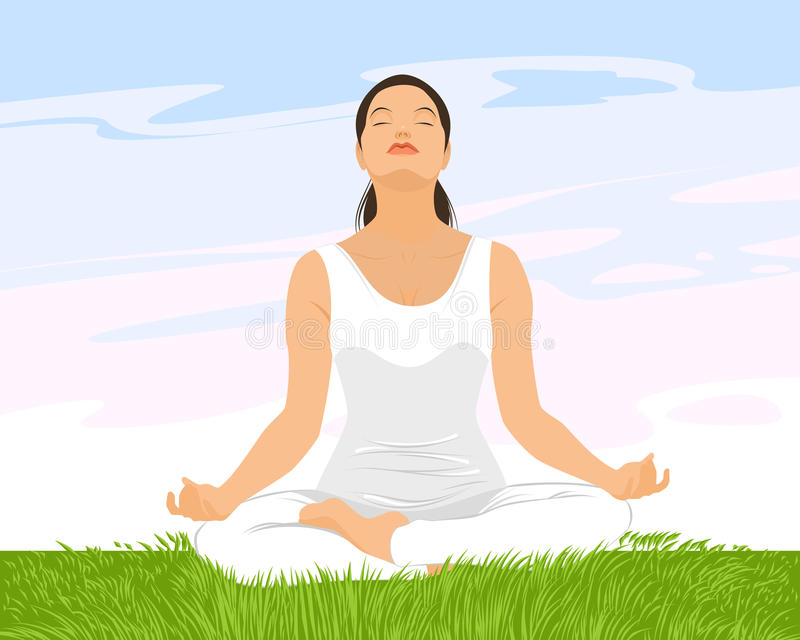 Übendes Yoga des Mädchens stock abbildung