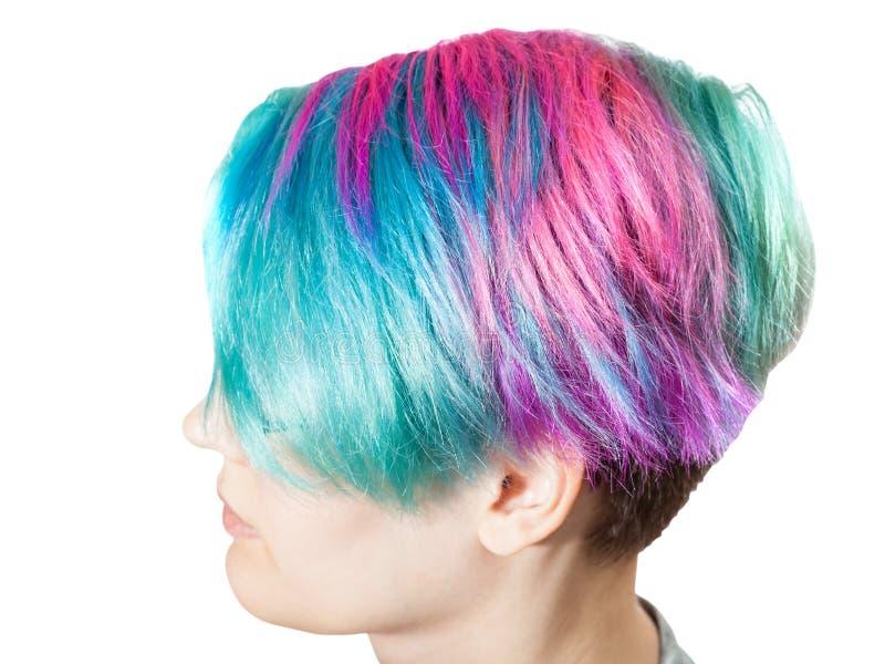 Über Ansicht des weiblichen Kopfes mit den multi farbigen Haaren lizenzfreies stockbild