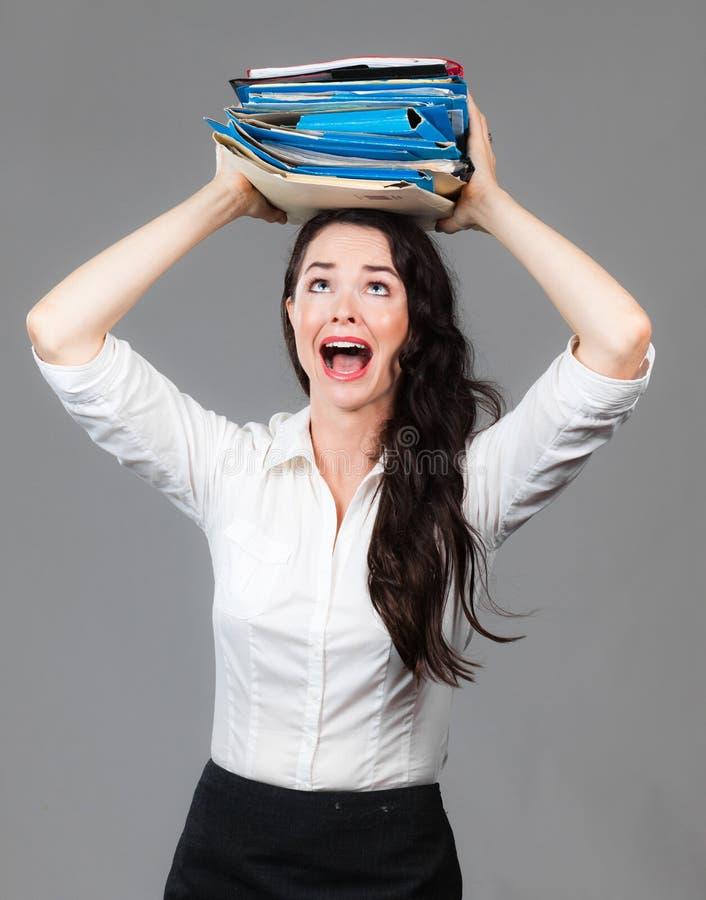 Über bearbeiteter Geschäftsfrau stockfoto