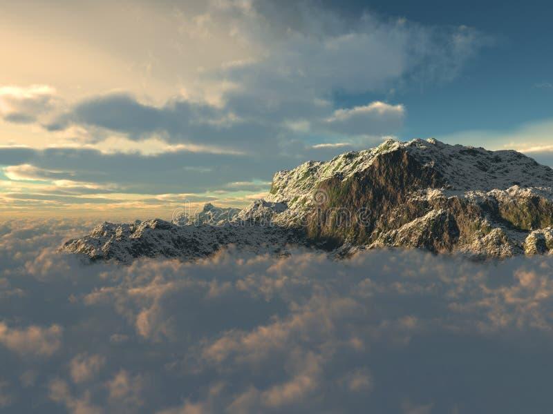 Über dem Himmel und den Bergen stockbilder