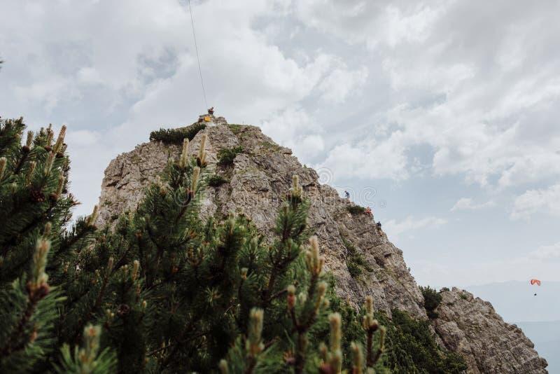 Über Ferrata, das in Österreich klettert lizenzfreies stockbild