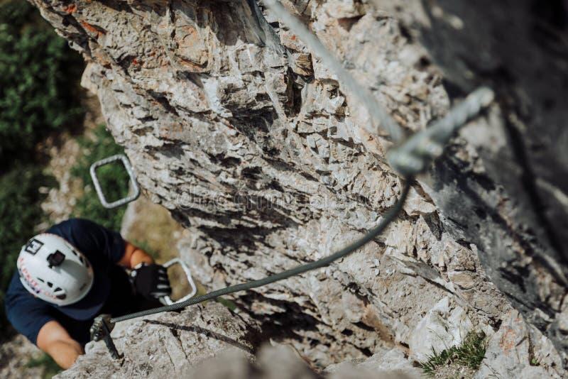 Über Ferrata, das in Österreich klettert stockfotografie