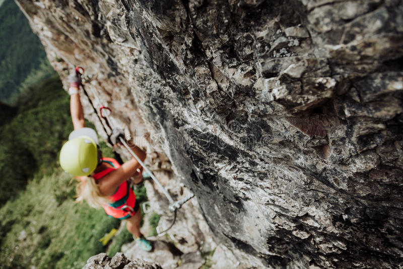 Über Ferrata, das in Österreich klettert lizenzfreie stockbilder