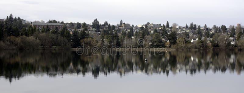 Über grünem See in Seattle stockfotografie