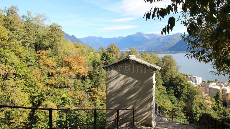 Über Locarno See mit Mountain View und Blättern stockfotos