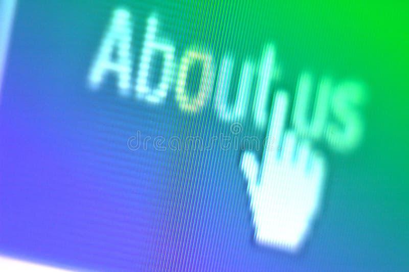 Über uns Bildschirmschuß stockfoto