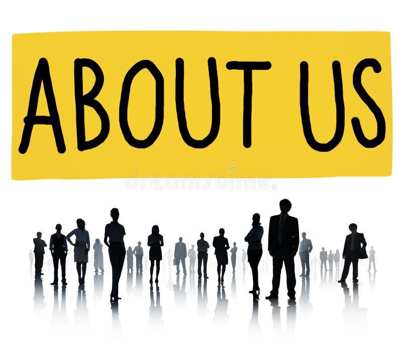 Über uns Informations-Mitgliedschafts-Informations-Konzept stockbild