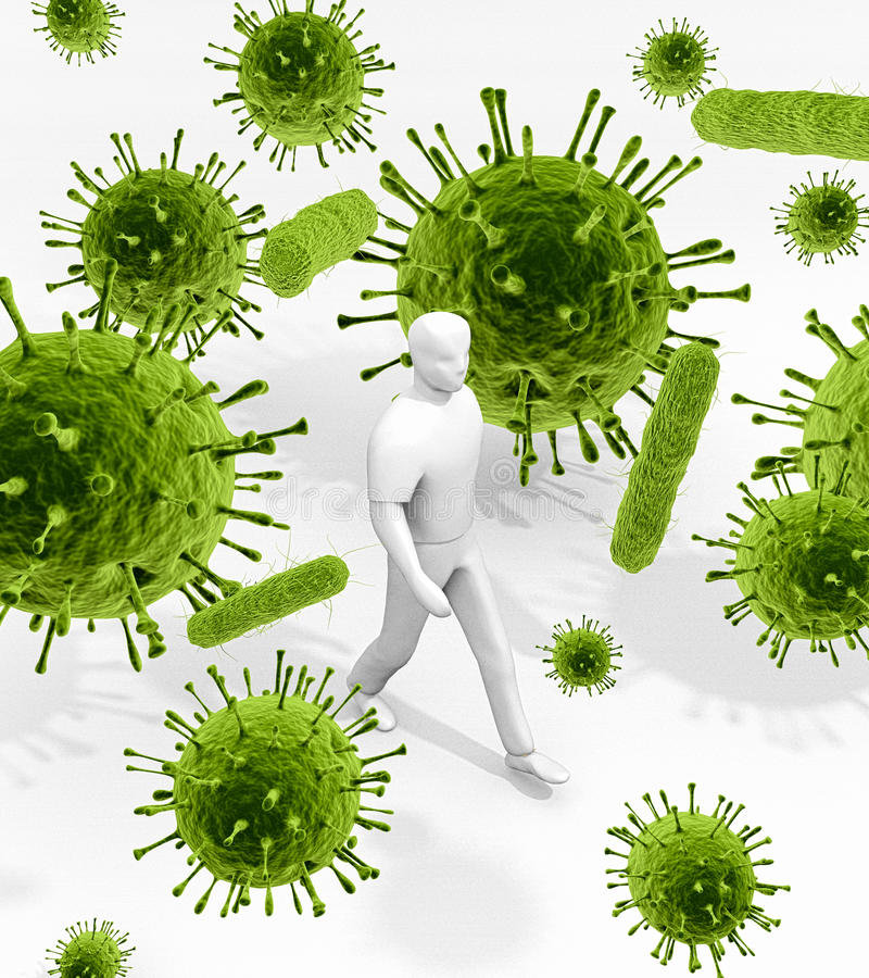 Überall umgeben durch Mikroben stock abbildung