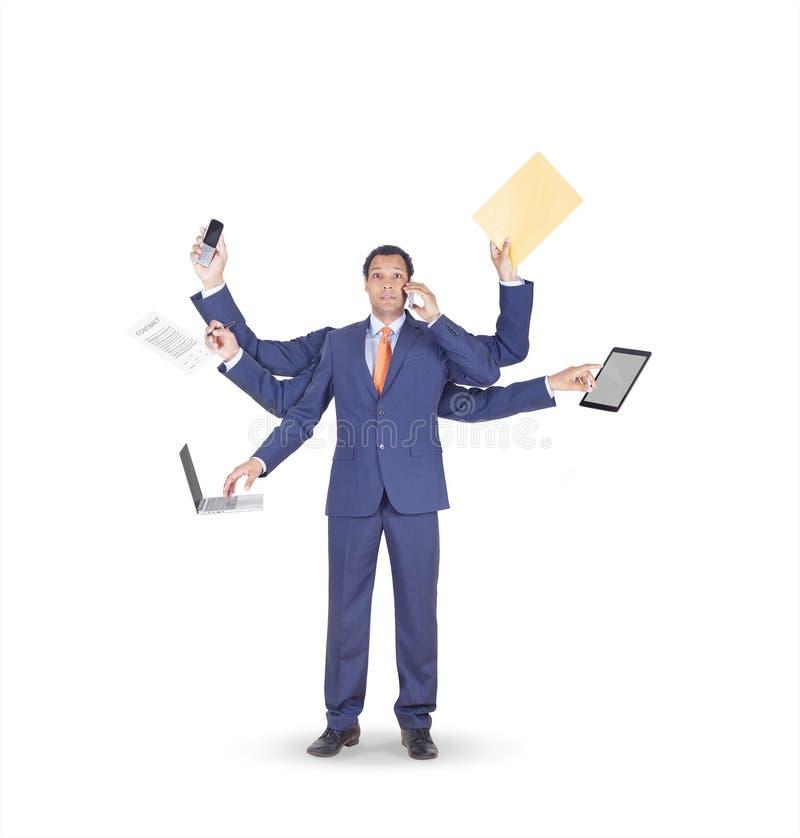Überarbeiteter Geschäftsmann mit vielen Händen Konzept stockbilder