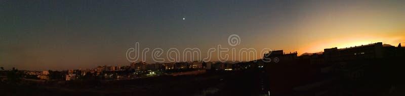 Überblick über Benevento bei Sonnenuntergang stockfotografie