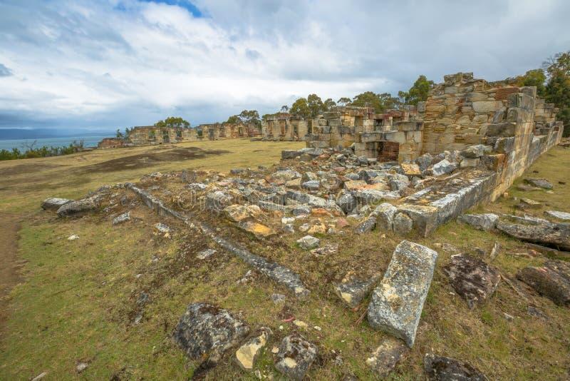 Überblick über Ruinen von Kohlengruben Tasmanien stockbild