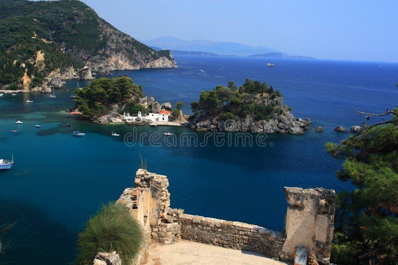 Überblick auf Parga Griechenland stockbild