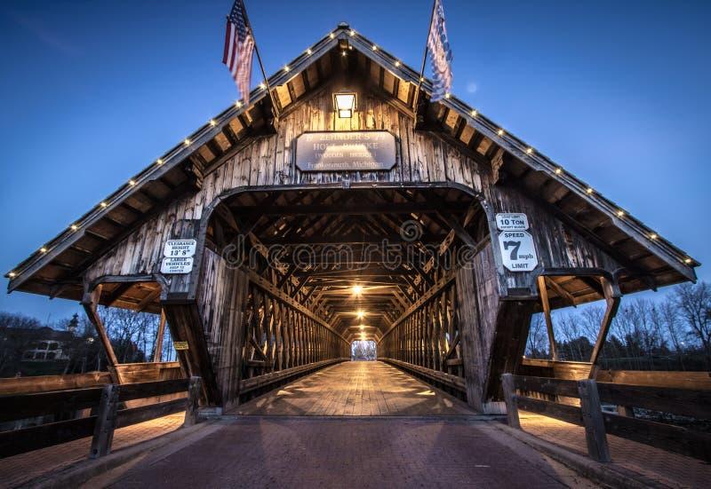 Überdachte Brücke Frankenmuth Michigan stockfoto
