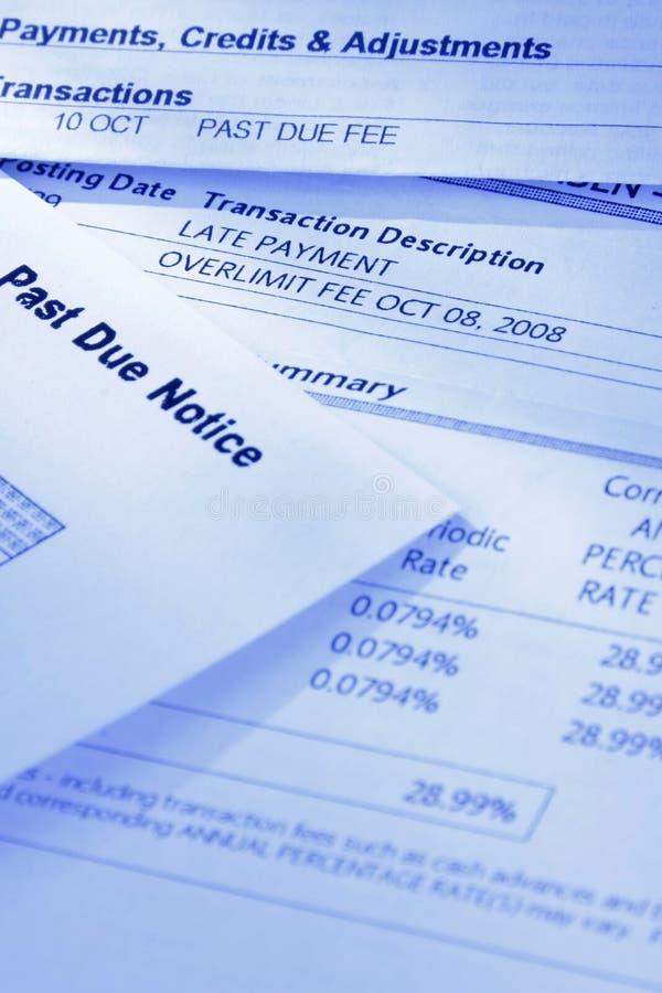 Überfällige Rechnungen lizenzfreie stockfotos