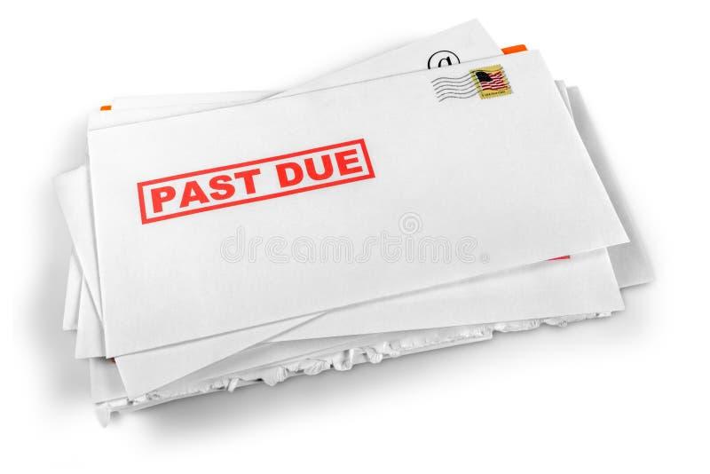Überfällige Rechnungen lokalisiert auf weißem Hintergrund lizenzfreie stockfotos