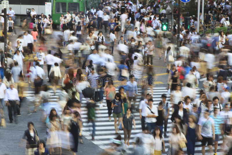 Überfahrt Tokyos Shibuya - lange Belichtung lizenzfreie stockfotografie
