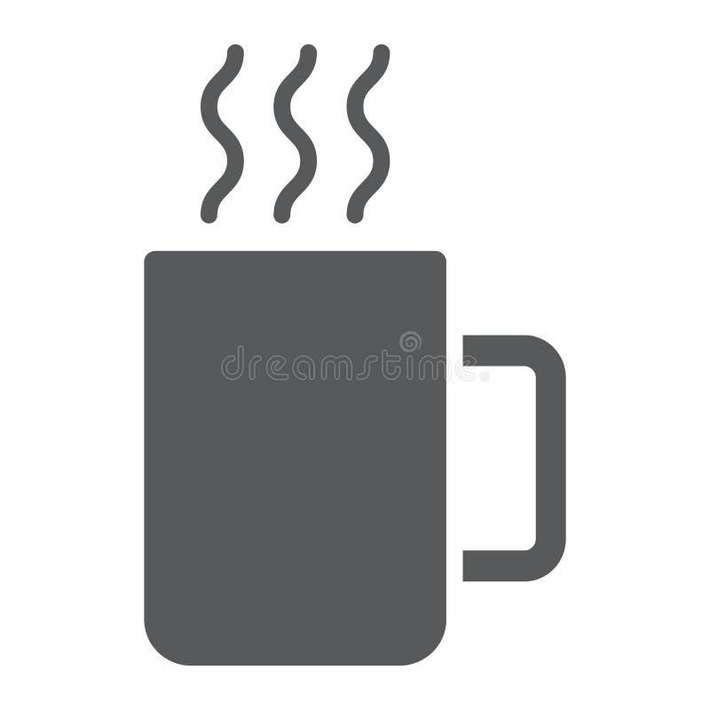 Überfallen Sie Glyphikone, Küche und Getränk, Kaffeezeichen vektor abbildung