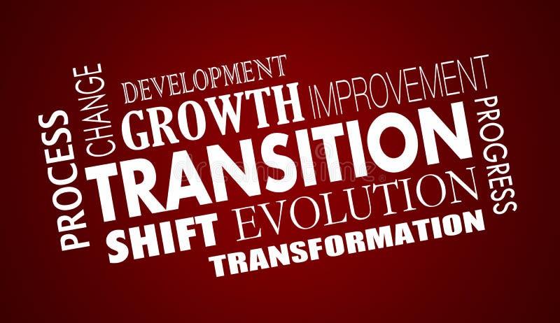Übergangs-Änderungs-Entwicklungs-Fortschritts-Wort-Collage vektor abbildung