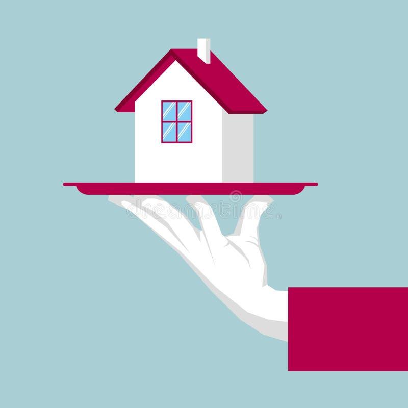 Übergeben Sie anhebenden Behälter, Landhausmodell im Behälter Immobilienkonzeptdesign lizenzfreie abbildung