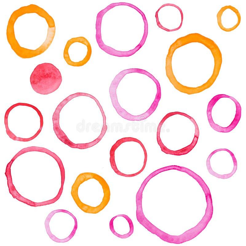 Übergeben Sie Aquarell-Ringkreis des abgehobenen Betrages runde Fleckkunst lizenzfreie abbildung