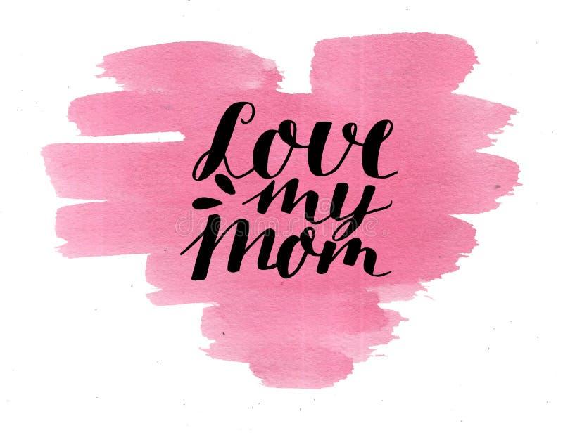 Übergeben Sie Beschriftung Liebe meine Mutter, gemacht auf Aquarellrosaherzen stockfotografie