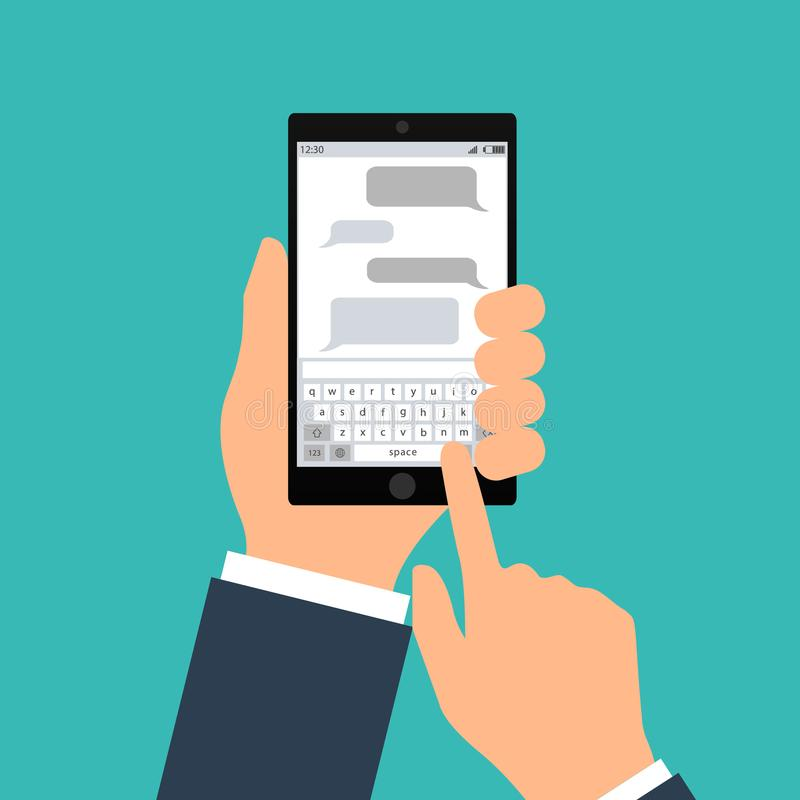 Übergeben Sie das Durchlöchern des schwarzen Smartphone mit leeren Spracheblasen für Text Flaches Konzept des Entwurfes der Verse lizenzfreie abbildung