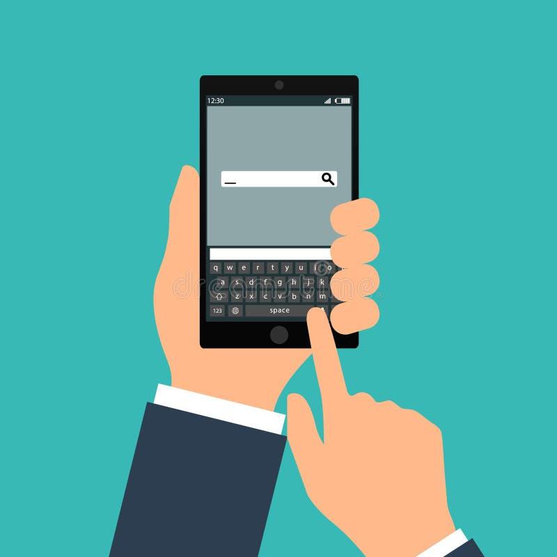 Übergeben Sie das Durchlöchern des schwarzen Smartphone mit leeren Spracheblasen für Text Flaches Konzept des Entwurfes der Verse stock abbildung